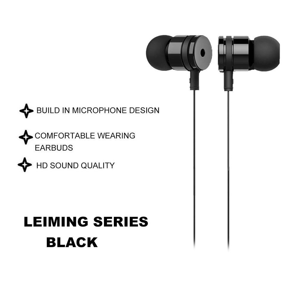IKAKU KAKU LEIMING & XUNLANG 3.5mm Universal Wired Control Earphone Earbuds Microphone Samsung Huawei Oppo Vivo Android