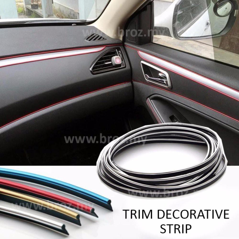 5M Blue Car Moulding Line Interior External Decorative Trim Strip Flexible