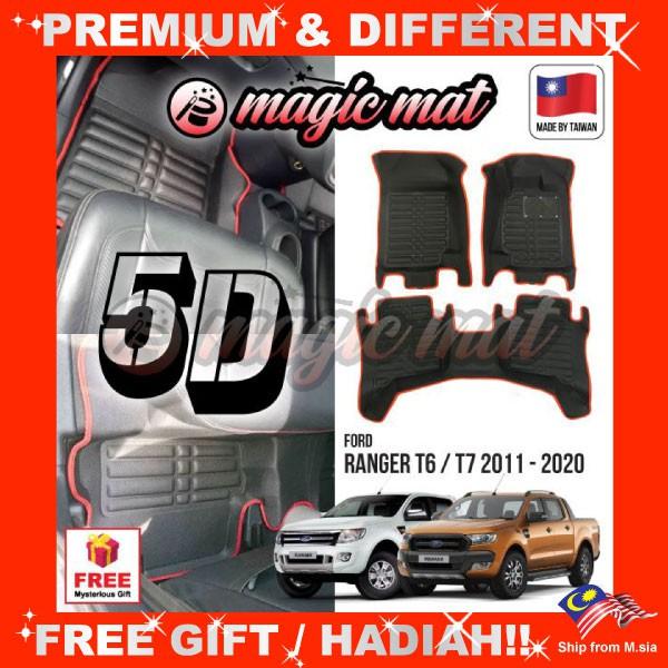 [FREE Gift] FORD RANGER T6 / T7 2011 - 2020 (5 Seater) MAGIC MAT 5D OEM PU Leather Floor Mat Anti-Slip Easy Clean Carpet