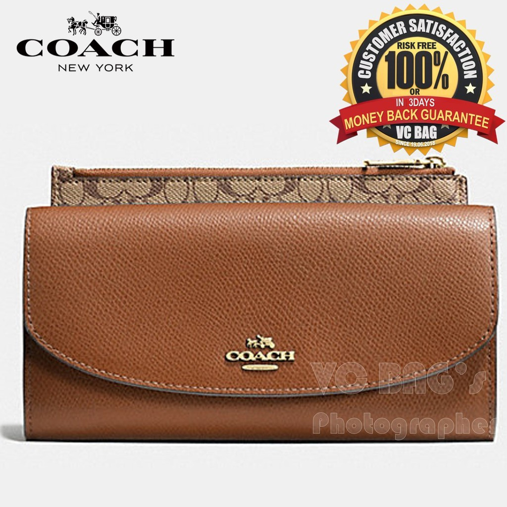 check out cfd12 1dced COACH F52628 Pop Slim Envelope Wallet in Crossgrain Leather[Light  Gold/Saddle]