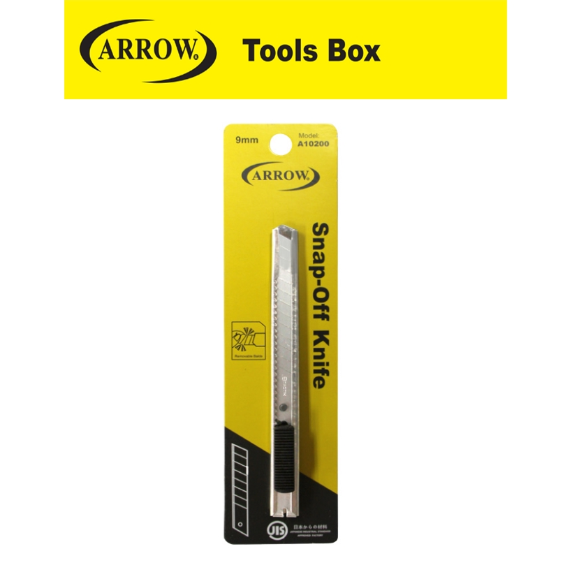 ARROW A10200 9MM METAL CASE SNAP OFF BLADE KNIFE SMALL EASY USE SAFETY GOOD QUALITY