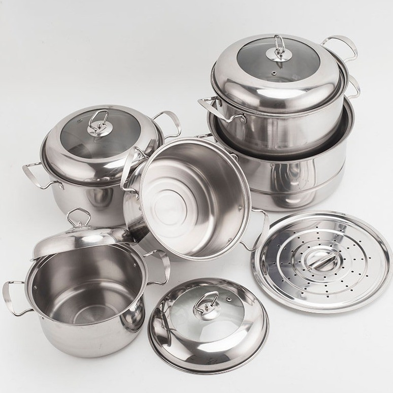 MALAYSIA: Periuk Set 10pc/Pengukus/Stainless Steel Pot/Steamer Pot/Periuk kukus/Cookware/Kitchen Ware/Alat