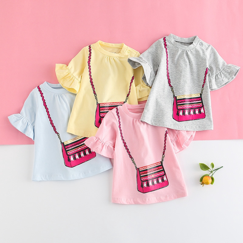 37bd193dc2cdf Vlinder best seller puer cotton baby girl T-shirt sweet cute infant top  pagoda sleeve loose confortable base shirt