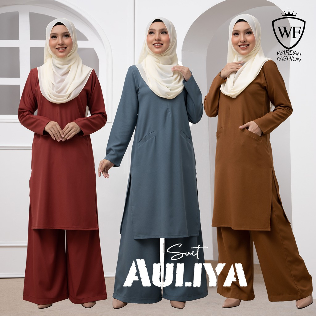 LONG DERSS AULIYA SUIT HIGHT QUALITY WITH FORENT POCKET