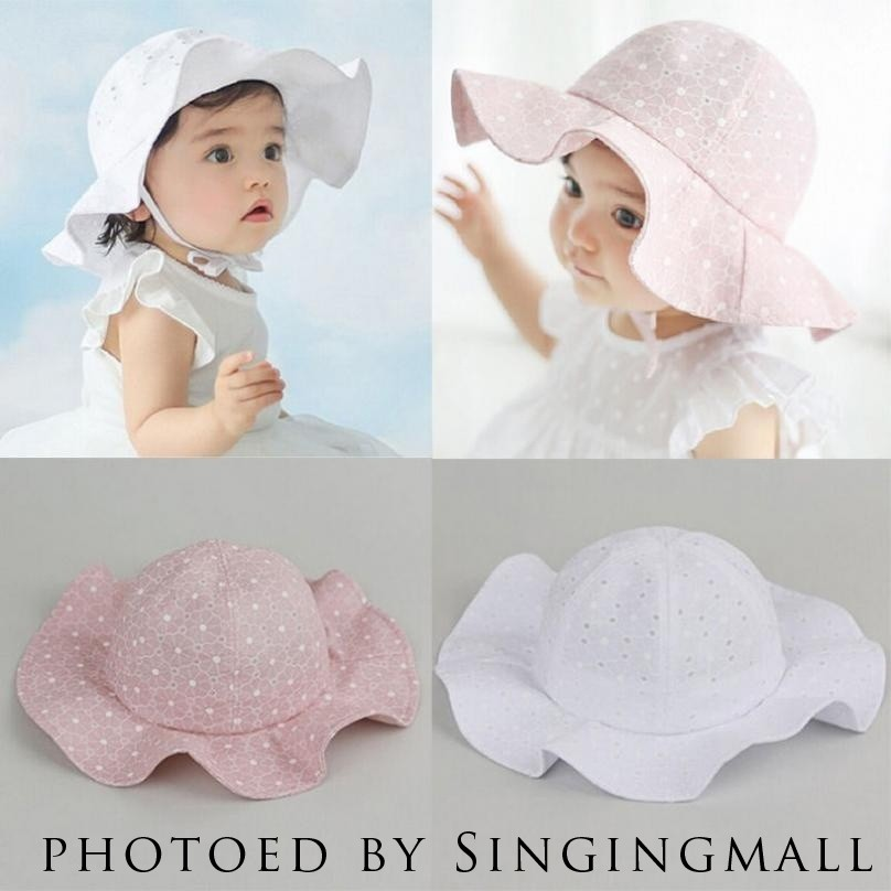 Newborn Baby Kids Girls Beanie Sun Hat Summer Brim Princess Bucket Bonnet Cap