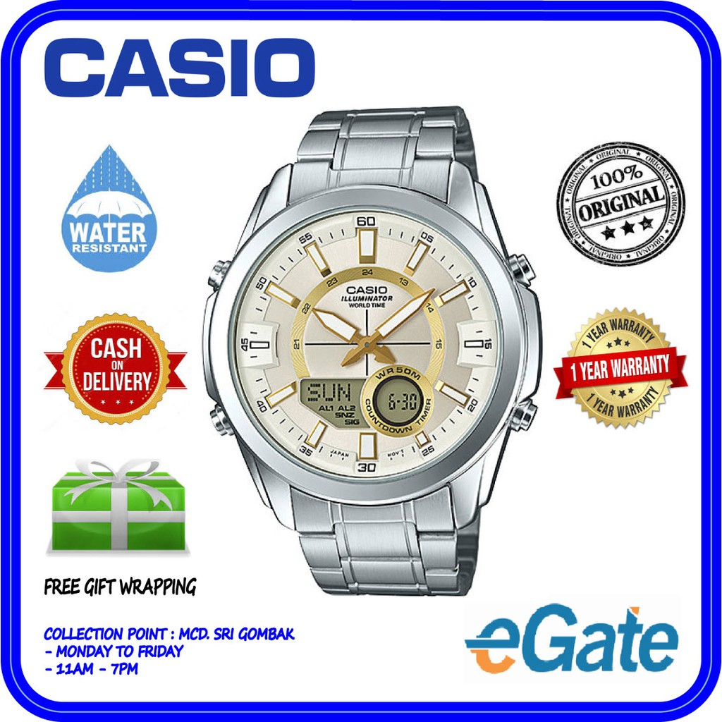Casio Ae 2100wd 1av Men Digital World Time Stainless Steel Original 1000wd Watch Shopee Malaysia