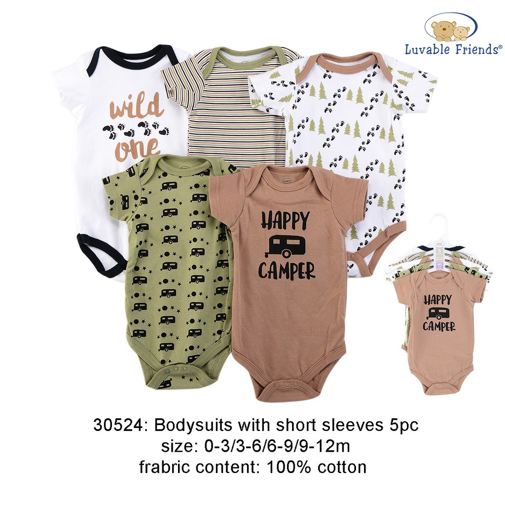 73fe3d3a87f Luvable Friend Hanging Baby Suits 5pk interlock Happy Camper ...