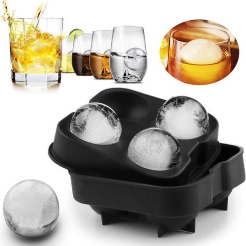 Flexible Silicone Sphere Ice Cube Tray Mould Round Ball Whisky Maker Party Mold