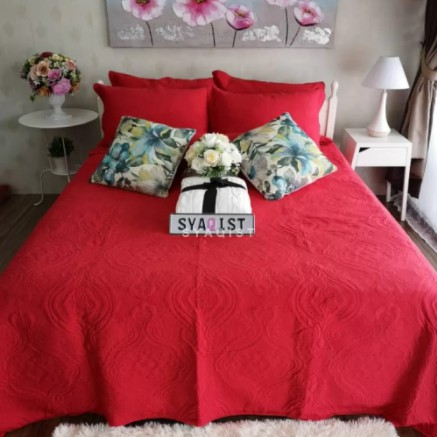 [SUPER SINGLE] 2in1 PATCHWORK EMBROIDERY QUILT BEDDING SET . 100% FULL COTTON