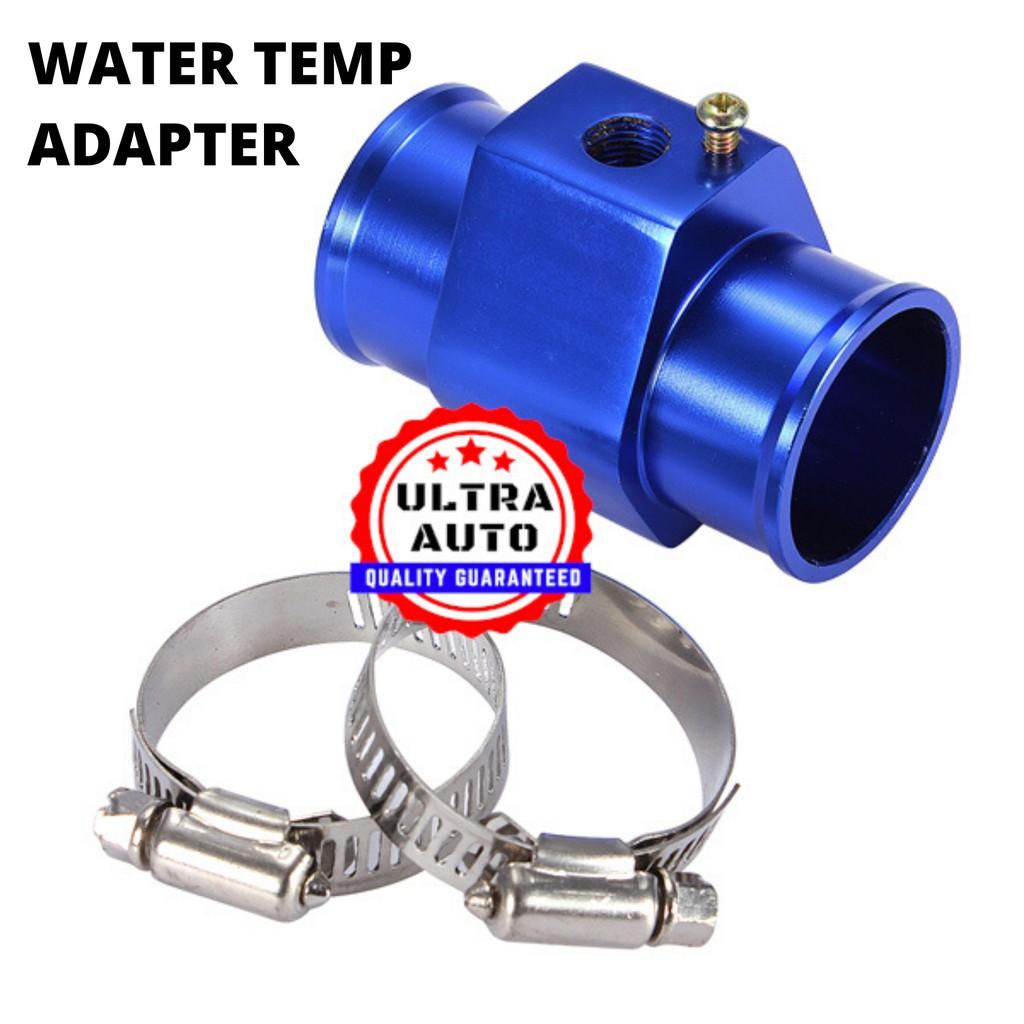 Water Temp Joint Pipe,Aluminum Water Temp Meter Temperature Joint Pipe Radiator Hose Sensor Gauge Adaptor with Clamps Black 38mm 28MM