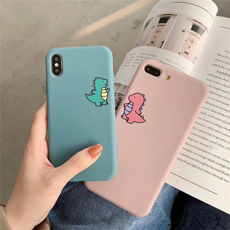 Cute couple small dinosaur apple iphone XS MAX mobile phone shell 7plus  8plus soft shell XR 6sp Protective case cover