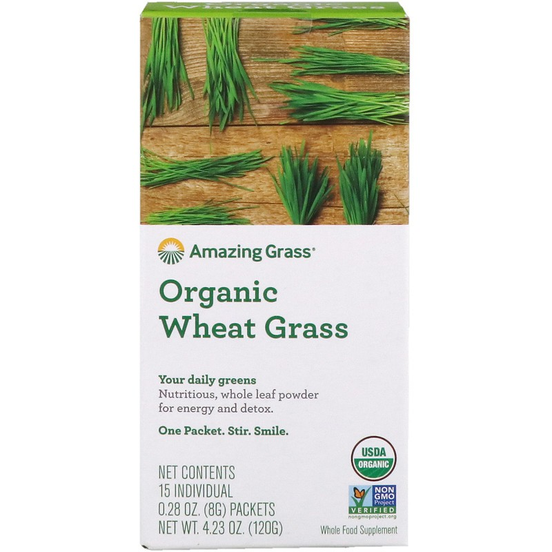 15 Individual Packets, 8 g Each Amazing Grass, Organic Wheat Grass
