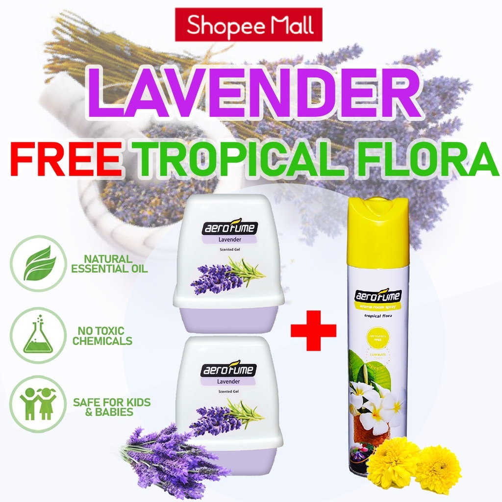 Tropical Flora Aroma Spray (1 Pcs) + Lavender Scented Gel (2 Pcs) [Bundle] Fragrance