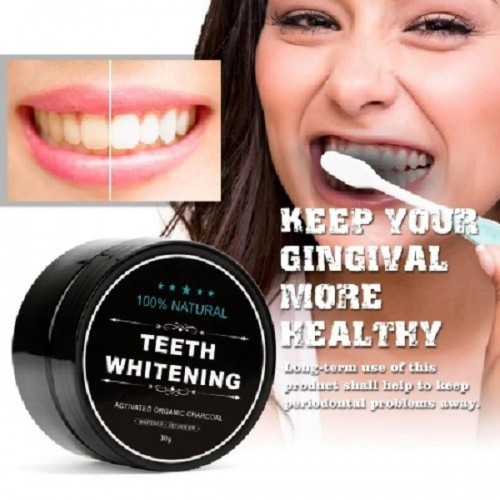 Teeth Whitening Powder Organic Charcoal Bamboo Toothpaste 30g