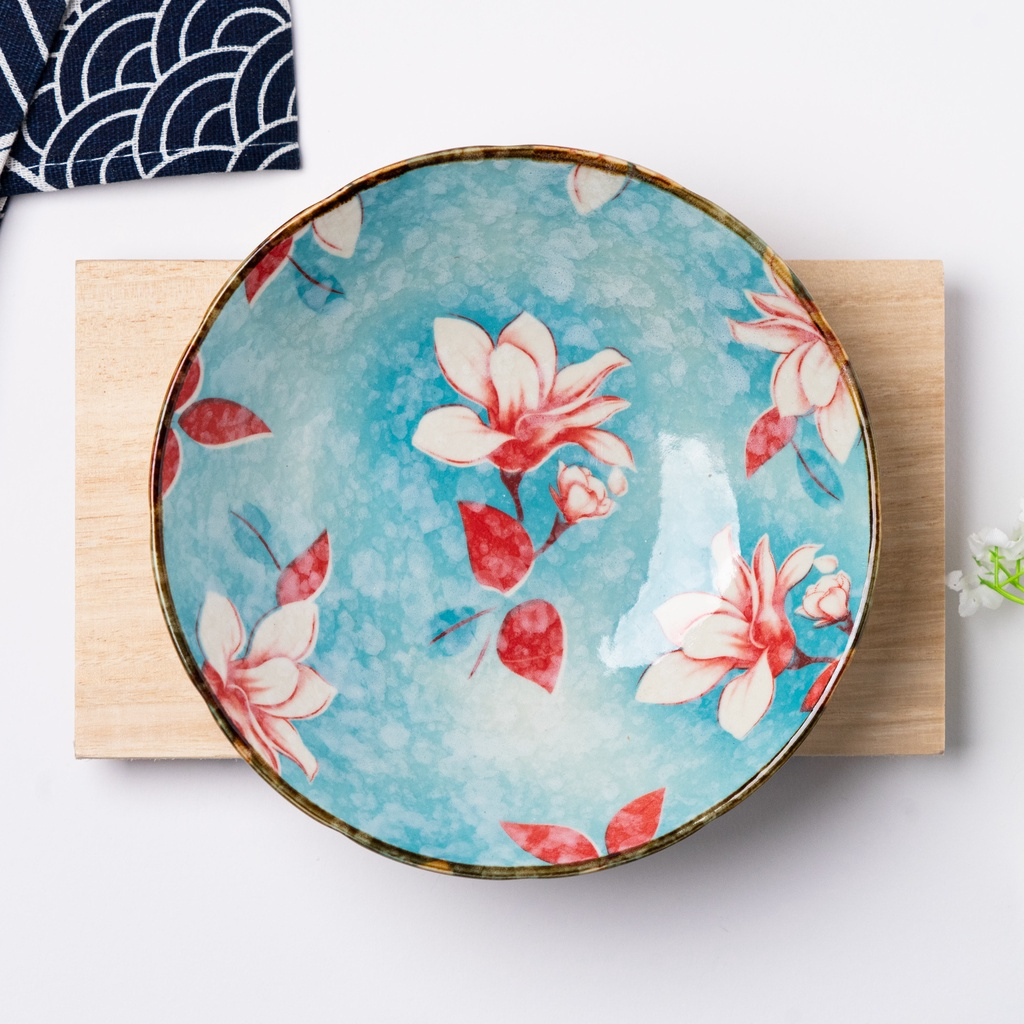 12.5cm Blue Floral Japanese Style Ceramic Bowl And Plate Porcelain Bowl Soup Bowl Mungkuk 日式手工陶瓷碗