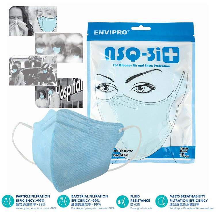 Mask 10 Cosway Nsq-3i Of Protection Face Extra Envipro pack