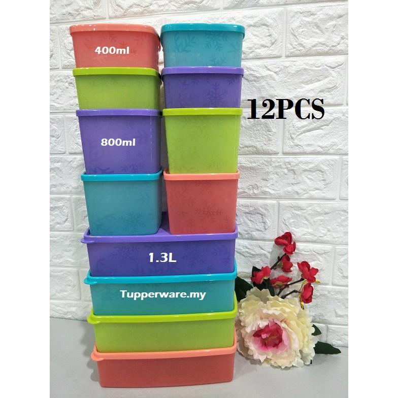 [4pcs/12pcs]Tupperware Snowflake Square Round Snack/Sandwich box Set Snowflakes