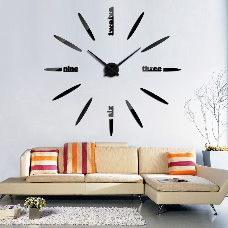 DIY 3D Large Wall Clock Frameless Mirror Number Sticker Art Decal Home Decor US