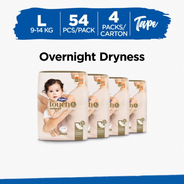 Drypers Touch L54 x 4 packs (216s total)