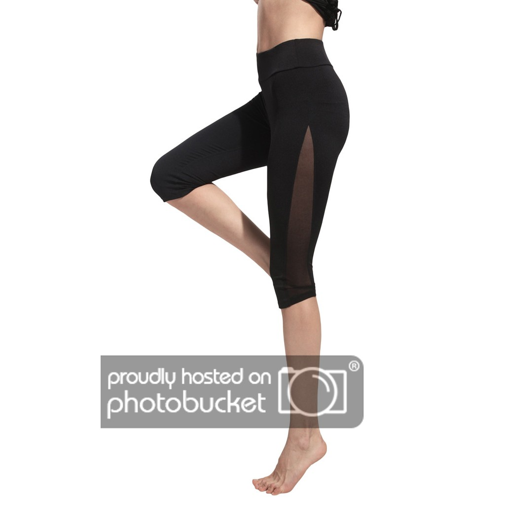 COMVIP Women's Knee Length Sports Yoga Workout Leggings Tights Black Pant