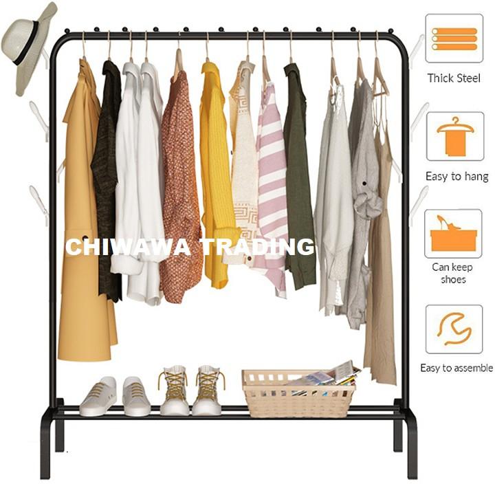 CHIWAWA DIY Clothes Hanging Rack Cloth Shoe Wardrobe Closet Storage Organizer Drying Shelf 8 Hook Rak Penyidai Baju