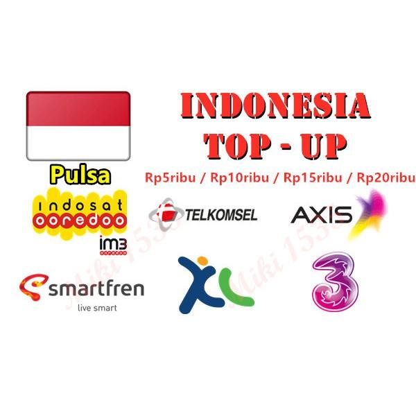 INDONESIA RELOAD / TOPUP / PULSA INDOSAT, TELKOMSEL, AXIS, SMARTFREN, XL,  TRI ( Rp5ribu, Rp10ribu, Rp15ribu, Rp20ribu )