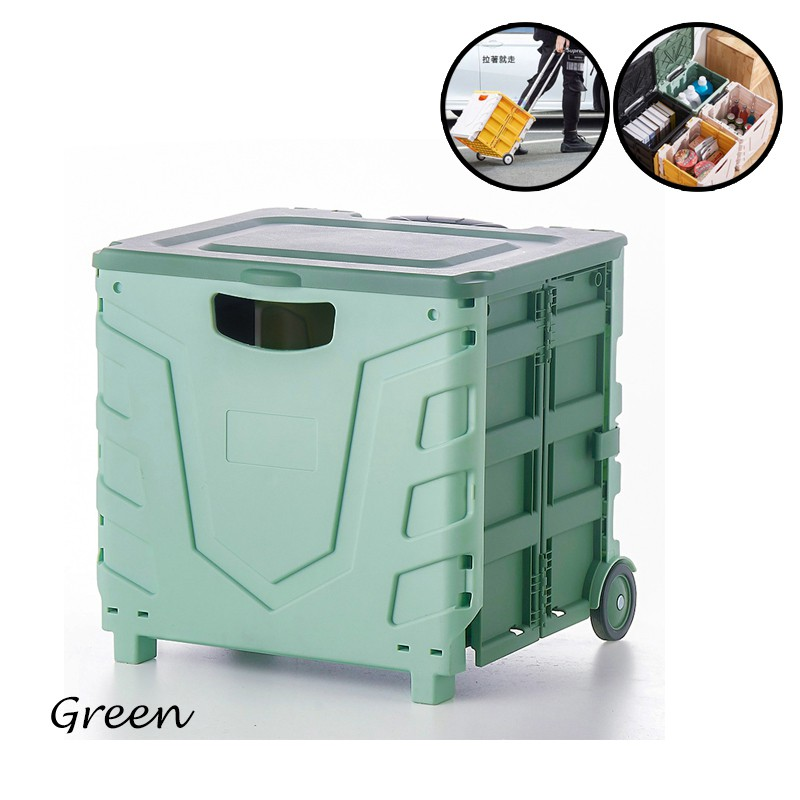 GDeal Folding Trolley Storage Box Pulley Supermarket Grocery Shopping Cart Large Capacity Storage Cart
