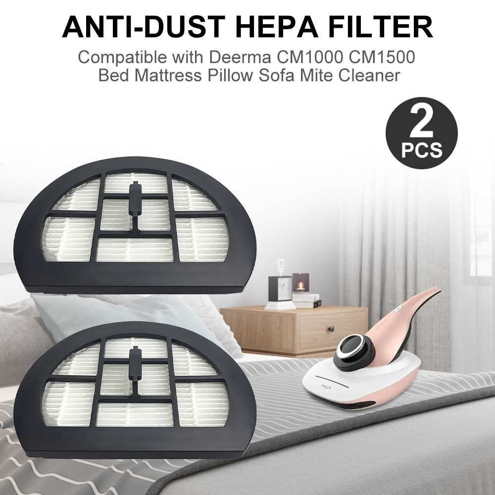 2pcs Filter Anti-Dust HEPA Filter Replacement Part Compatible with Deerma CM1000 CM1500 Bed Mattress Pillow Sofa Vacuum
