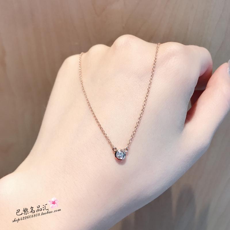 Gift Tiffany Tiffany 18k Rose Gold Necklace Single Diamond Round Pendant Female Collarbone Chain Valentine S Day Giftu20 Shopee Malaysia