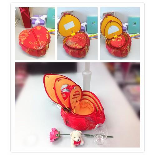 3 in 1 Red Chinese Style Love Sharp Mirror Storage Box Jewelry Box