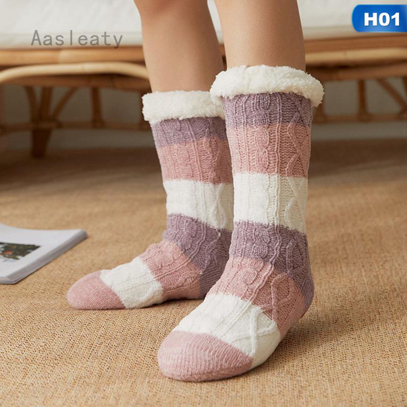 Christmas Women Winter Fluffy Fleece Lined Bed Socks Floor Socks Thick Trend