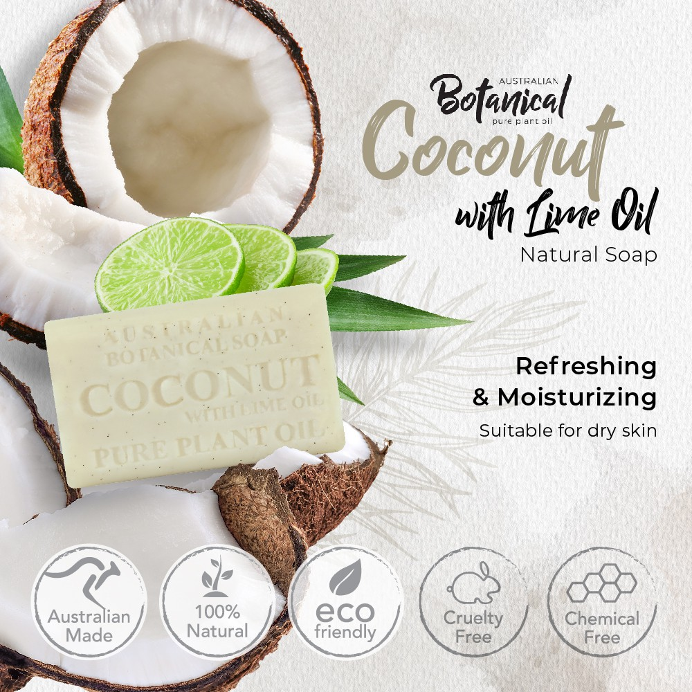 Coconut With Lime Oil Natural Soap I FOR DRY SKIN,Antioxidant, Moisturizing, Exfoliate AUSTRALIAN BOTANICAL 200g