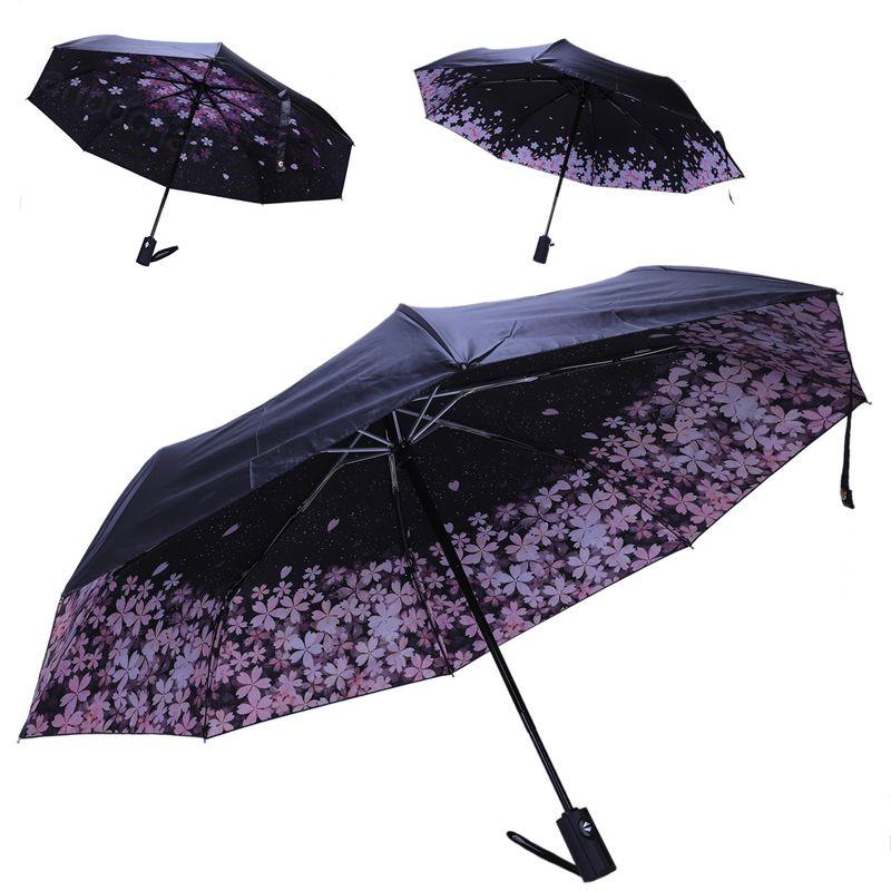 5fb56079d ProductImage. ProductImage. Cherry Blossom Automatic Umbrella Female Parasol  Black Coating Sun and Rain Umbrella Women 210T Fabric Three-Folding