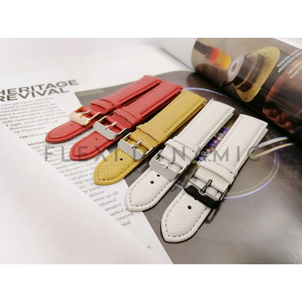 (Local Seller) 20mm PU leather strap Red/Yellow/White color Watches band stainless steel buckle Wristwatch Strap