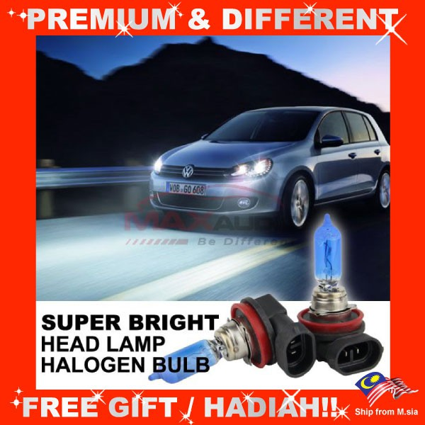[FREE Gift] (CLEARANCE) Super Bright 3500K to 6000K Car Head Lamp Halogen Light Bulb (Pair)