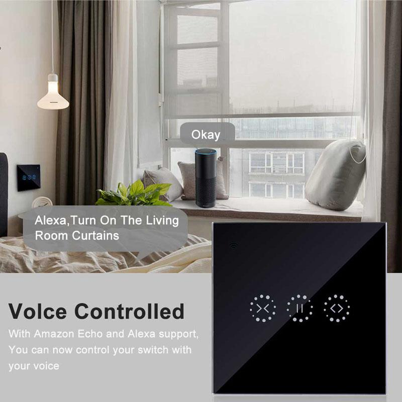EU&UK WIFI Smart Curtain Motor Switch APPTouch Control Alexa/ Google  Assistant