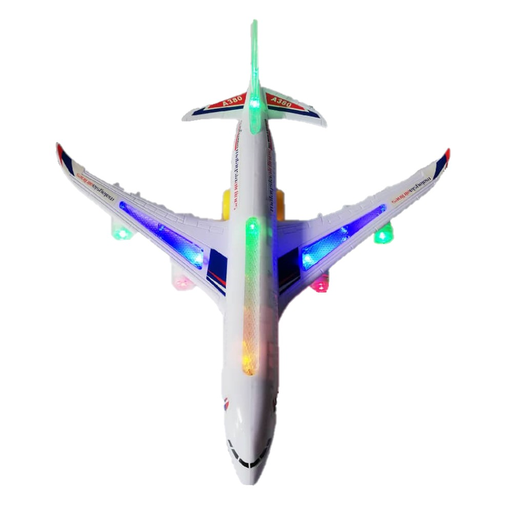 Big size 44cm AirBus MAS Air Asia Flash Electric A380 flashing light and sound effects auto rotation Toy gift for kids