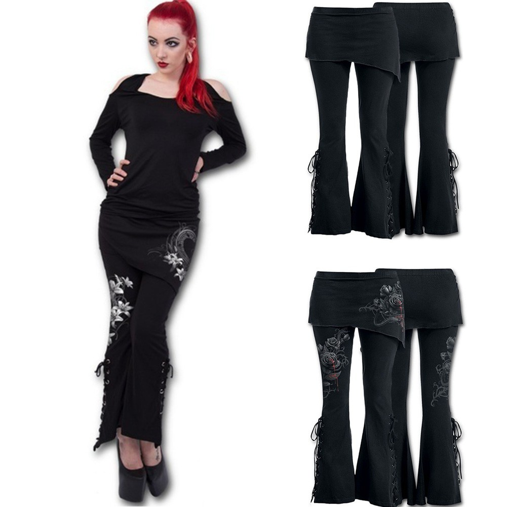 af1472b166bfa Women 2 in 1 Boot Leggings with Micro Slant Skirt Gothic Punk LaceUp  Leggings | Shopee Malaysia