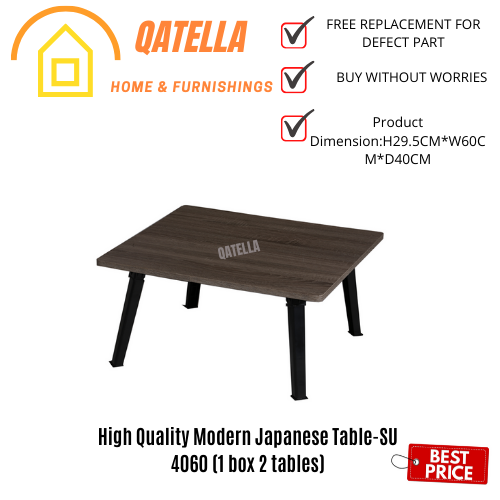 Qatella Bundle Set of 2:Premium SU 4060 Japanese Style Foldable Laptop Table Sonoma Dark