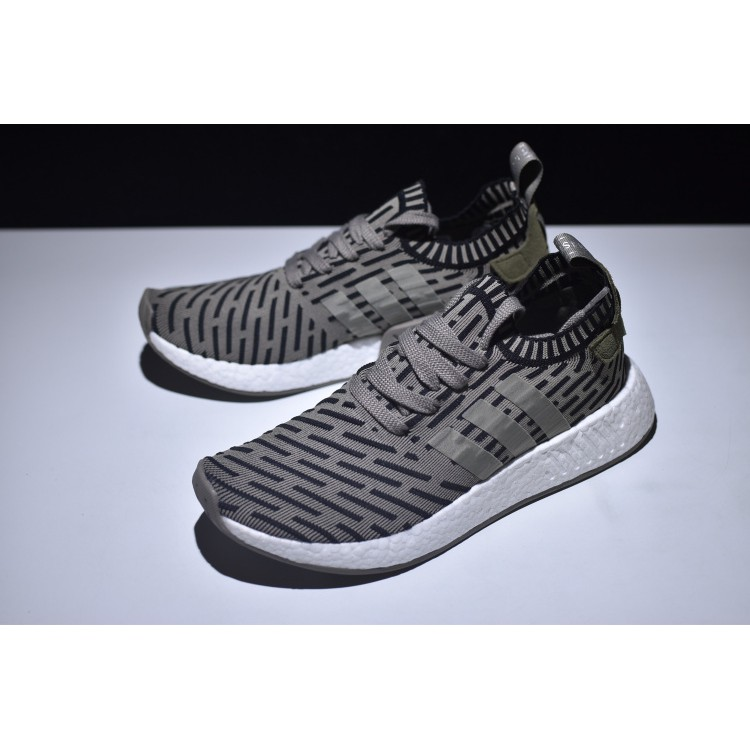 Adidas Men's NMD R2 Runner Primeknit Boost Running Shoes GreyGreen