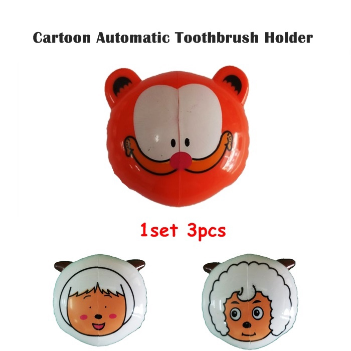 Cartoon Automatic Toothbrush Holder (1set 3pcs)