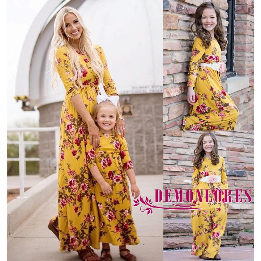 Mother Daughter Summer Casual Dresses Women Kids Girls Long Dress Family Clothes