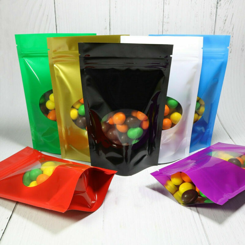 Stand Up Mylar Aluminum Foil Bags Zip Lock Food Packaging Pouches w//Clear Window