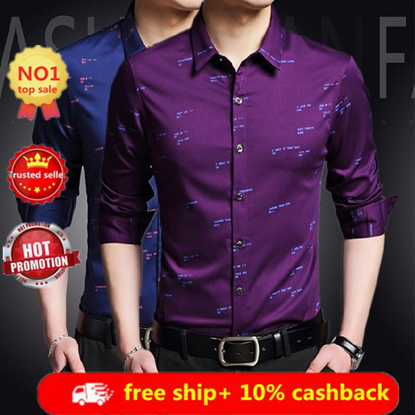 Fashion Mens Leisure Business Vintage Top Casual Long Sleeve Formal Dress Shirts