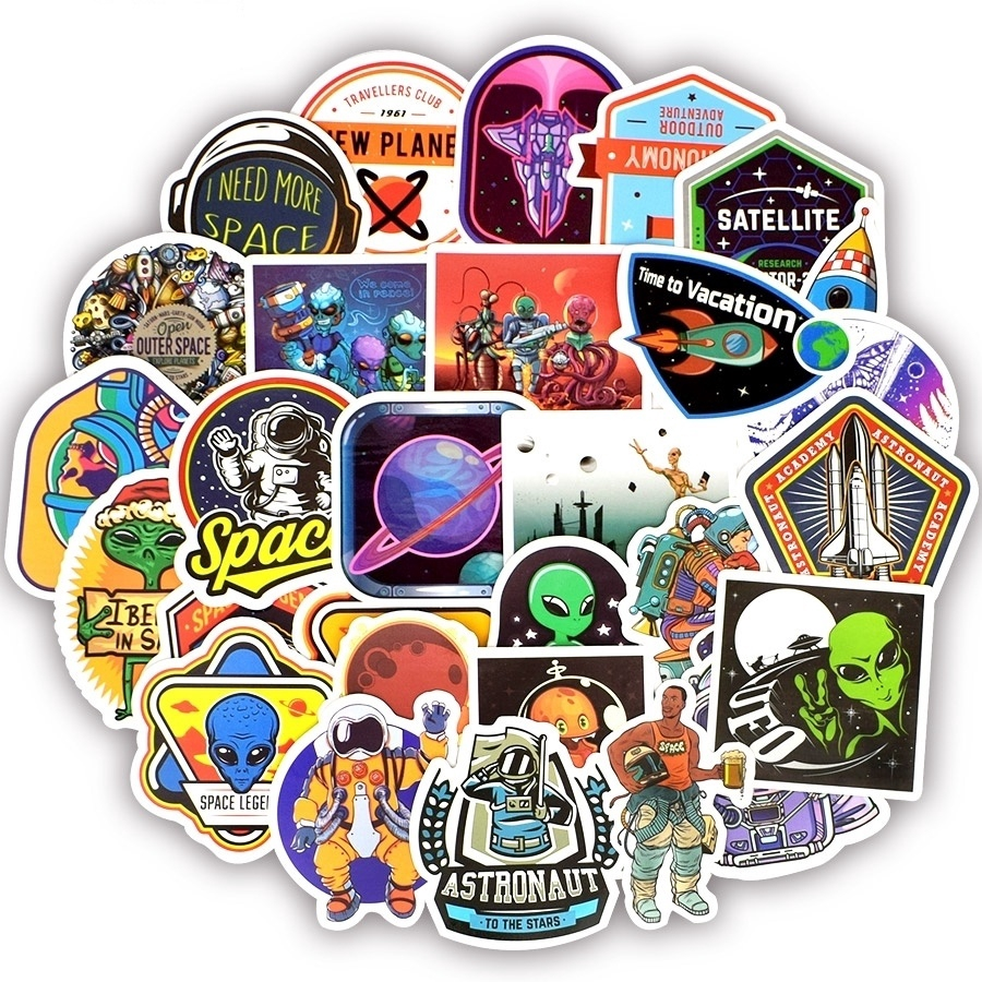 df134debceb8 25/50PCS Universe Stickers Classic Toys for Kids Outer Space Alien  Astronaut UFO Planet Collection Gift Sticker to Lapto