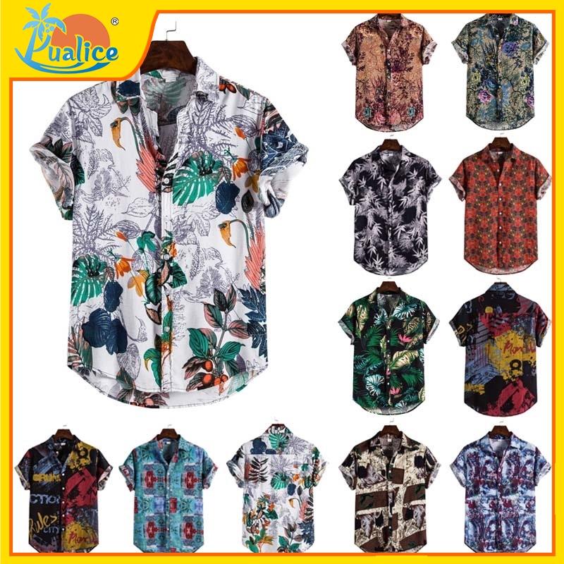 Kemeja Lelaki Men Shirt Baju Lelaki Shirts Top Short Sleeved  Tshirt Casual Vacation Summer Beachwear Hawaiian Loose Shirt  Floral Fashion  Loose Shirt Blouse Baju Lelaki
