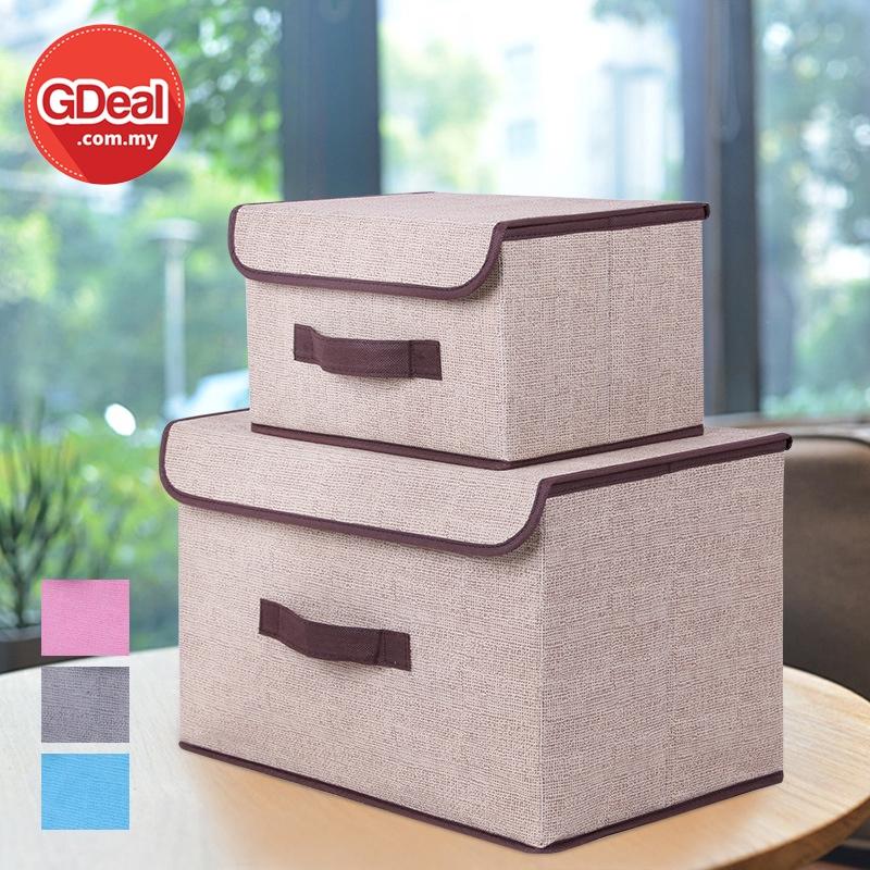 GDeal 2 in 1 Home Organization Cotton And Linen Foldable Storage Box Kotak Simpanan كوتق سيمڤنن