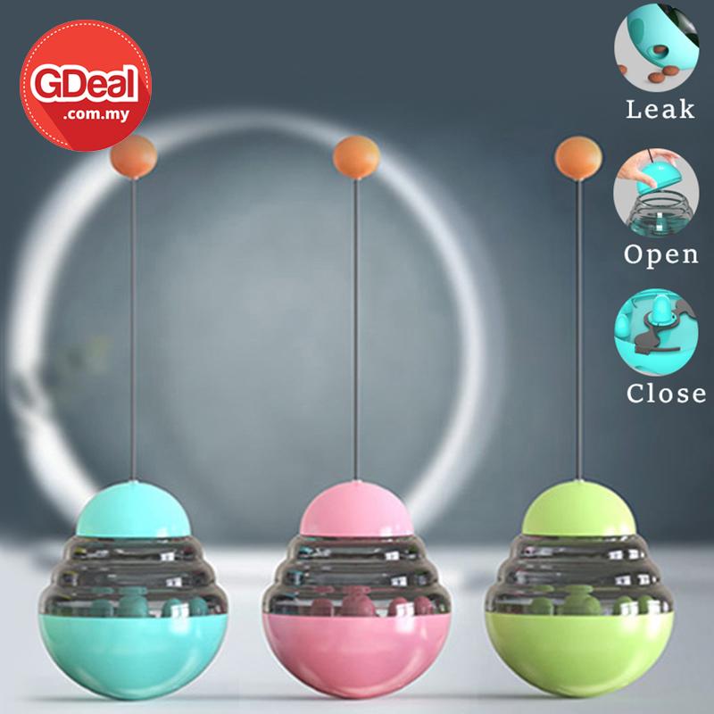 GDeal Funny Cat Dog Tumbler Leaking Ball Food Feeder Pet Snack Leak Dispenser Toy Bekas Makanan Haiwan