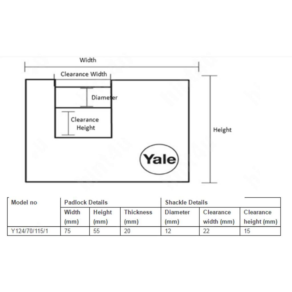 Yale Y124/70/115/1 SATIN CHROME BORON SHACKLE PADLOCK 70mm