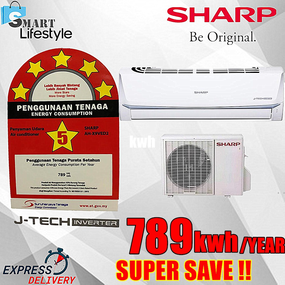 SHARP 1.0HP R32 JTEC INVERTER AIR CONDITIONER 5 STAR ENERGY RATING AHX9VED2